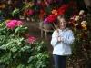 Irene in a wood flower shop in Pucon