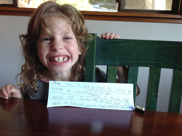After having four teeth pulled, Irene wrote a note to the tooh fairy