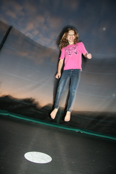 Irene, night, arty trampoline shot