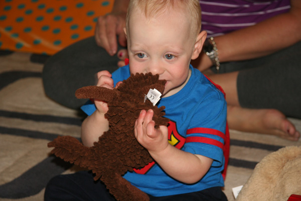 Sam the Anti-Preemie: Sissy\'s present.  I named him Bean