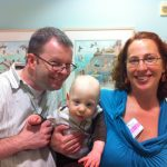 Sam the Anti-Preemie visiting the NICU