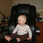 Sam the Anti-Preemie Spinning in the office chair