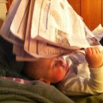 Sam the Anti-Preemie Reading the newspaper
