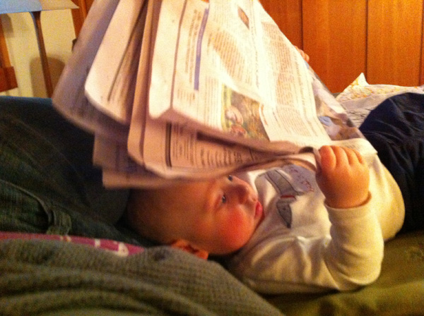 Sam the Anti-Preemie Reading before bed
