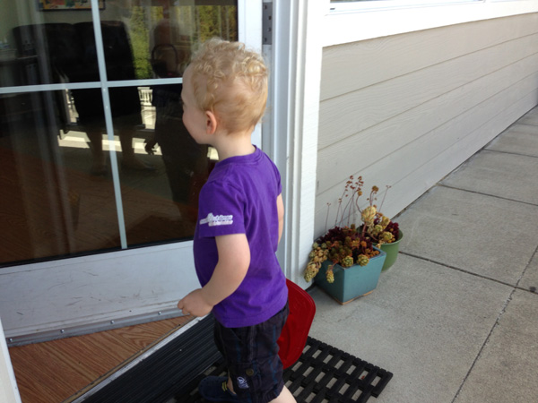 Sam the Anti-Preemie on his way to speech therapy
