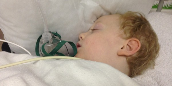 Sam the Anti-Preemie in the recovery room