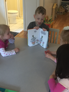 Sam the Anti-Preemie: Reading to his Friends